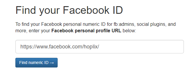 Hoplix - Find your Facebook Page ID